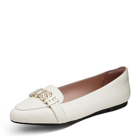 Hush Puppies/暇步士秋季新款专柜同款白色羊皮舒适休闲女单鞋HKF11CQ7