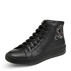 Hush Puppies/暇步士2017年冬季专柜同款黑色牛皮个性休闲男皮靴H2T48DD7