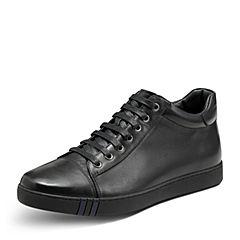Hush Puppies/暇步士冬季专柜同款黑色牛皮系带舒适男休闲低靴C1B02DD7