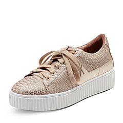 Puppies/暇步士秋季专柜同款杏色牛皮厚底舒适女休闲鞋R1A01CM7