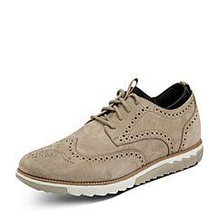 Puppies/暇步士秋季专柜同款杏色牛皮鞋舒适男休闲鞋01719CM7