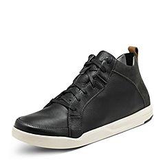 Hush Puppies/暇步士2017年冬季专柜同款黑色牛皮男鞋休闲靴01707DD7