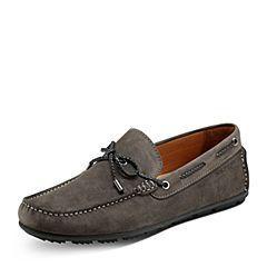 Hush Puppies/暇步士秋季专柜同款灰色牛皮革帆船鞋男休闲鞋K1D06CM7