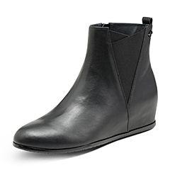Hush Puppies/暇步士冬季专柜同款黑色牛皮革内增高女皮靴短靴HGC49DD7