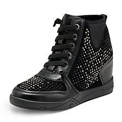 Hush Puppies/暇步士2017年冬季专柜同款黑色羊皮/布内增高水钻女休闲靴HKK48DD7