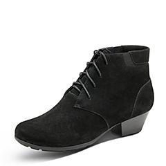 Hush Puppies/暇步士2017年冬季专柜同款黑色牛皮粗跟女靴时尚休闲女短靴HHW54DD7