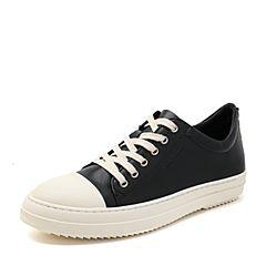 Hush Puppies/暇步士2017专柜同款黑色牛皮系带舒适运动风男休闲鞋板鞋C1A02AM7