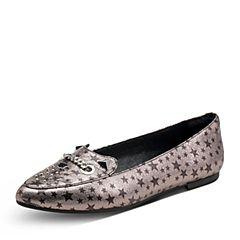 Hush Puppies/暇步士2017秋季专柜同款银灰色羊皮铆钉平跟女休闲鞋浅口单鞋HKF14CQ7