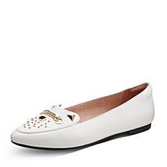 Hush Puppies/暇步士秋季专柜同款白色羊皮浅口平底女休闲鞋HKF14CQ7