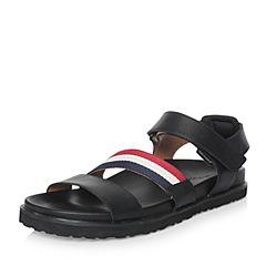 Hush Puppies/暇步士2018夏季专柜同款黑色牛皮革/弹力布男凉鞋罗马鞋H4Q11BL8