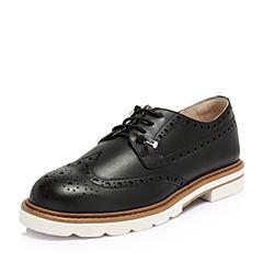 Hush Puppies/暇步士2018春季新品专柜同款黑色牛皮雕花英伦风女皮鞋HMS26AM8