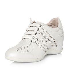 Hush Puppies/暇步士2018春季专柜同款白色羊皮镂空内增高女休闲鞋HMF28AM8