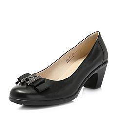 Hush Puppies/暇步士2018春季专柜同款黑色牛皮蝴蝶结粗高跟浅口通勤女皮鞋X1N05AQ8