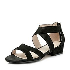 Hush Puppies/暇步士2018夏季专柜同款黑色羊皮粗跟女皮凉鞋P1P01BL8
