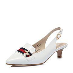 Hush Puppies/暇步士2018夏季新款专柜同款白色羊皮条纹女皮鞋猫跟鞋后空凉鞋P1N01BH8