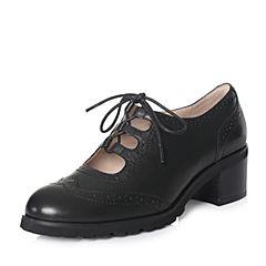 Hush Puppies/暇步士2018春季专柜同款黑色牛皮雕花系带粗跟女皮鞋P1M02AM8