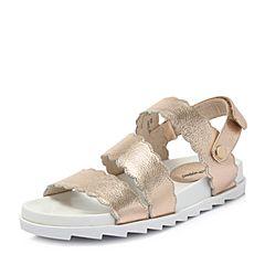 Hush Puppies/暇步士2018夏季专柜同款金色牛皮女皮凉鞋P1G01BL8