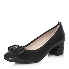 Hush Puppies/暇步士2018春季新款专柜同款黑色羊皮蝴蝶结粗跟浅口女皮鞋D1A04AQ8