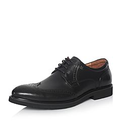 Hush Puppies/暇步士2018春季专柜同款黑色牛皮雕花商务正装男皮鞋B1B08AM8