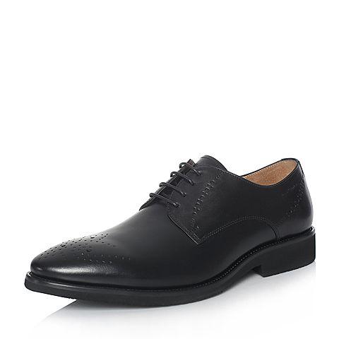 Hush Puppies/暇步士2018春季专柜同款黑色牛皮雕花系带商务正装男皮鞋T1A01AM8