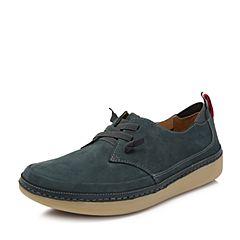 Hush Puppies/暇步士2018春季新款专柜同款蓝色牛皮厚底男士休闲鞋N1J01AM8