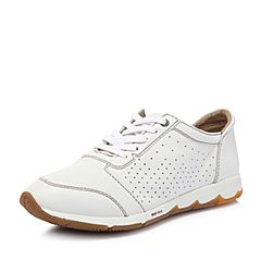 Hush Puppies/暇步士2018春季专柜同款白色牛皮镂空运动风女休闲鞋06254AM8