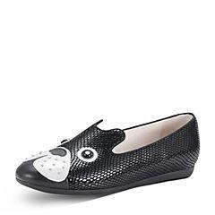 Hush Puppies/暇步士2018春季专柜同款黑色羊皮/牛皮铆钉狗狗鞋女休闲鞋HAV57AM8