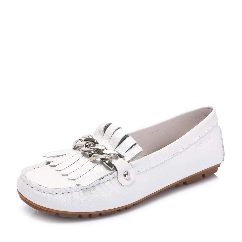 Hush Puppies/暇步士2018秋季新款专柜同款白色牛皮革平跟女休闲鞋乐福鞋R1B08CM8
