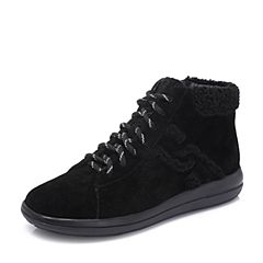 Hush Puppies/暇步士2018冬季新款专柜同款黑色牛皮革/毛绒布绒里女休闲靴短靴HNP43DD8