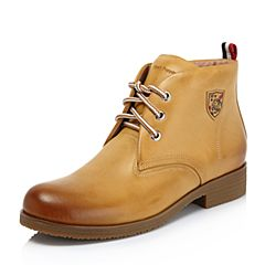 Hush Puppies/暇步士2018冬季新款专柜同款棕黄色牛皮革街头风女马丁靴HMM52DD8