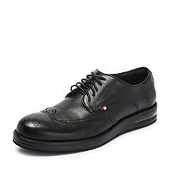 Hush Puppies/暇步士2018秋季新款专柜同款黑色牛皮革商务男皮鞋H6Q22CM8