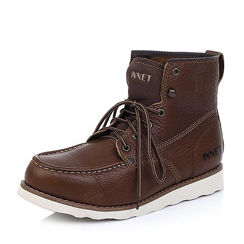 INNET百丽旗下休闲舒适头层牛皮深棕色男士低靴(仿毛里)62I60FZ4