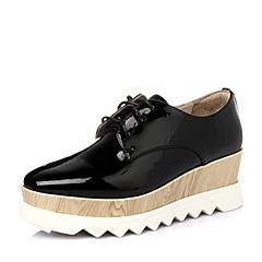 百丽旗下INNET/茵奈儿2016年春季黑色漆PU女鞋UPN02AM6