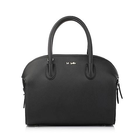 Ist belle/百丽箱包黑色缩纹牛剖层皮革手袋11358DX5