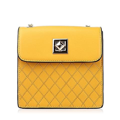 Ist belle/百丽箱包黄色细纹人造革女包11395DX5