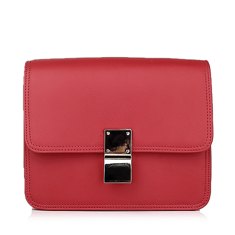 Ist belle/百丽箱包红色细纹牛剖层皮革女手袋11397DX5