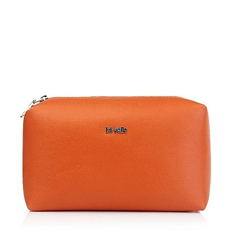 Ist belle/百丽箱包橙色纳帕纹人造革手袋11462DX5