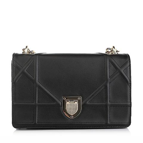 Ist belle/百丽箱包黑色仿羊皮纹人造革女手袋11403DX5