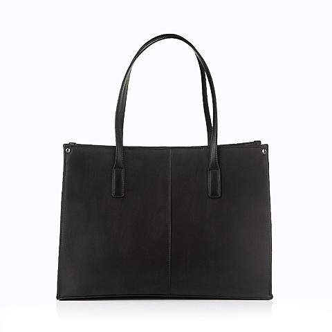 Ist belle/百丽箱包黑色细纹牛皮革手袋11465DX5