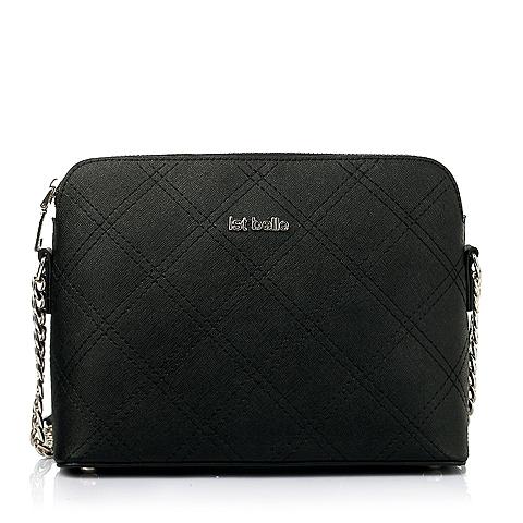 Ist belle/百丽箱包2016春季黑色菱格车缝线牛剖层皮革女手袋205DDAX6