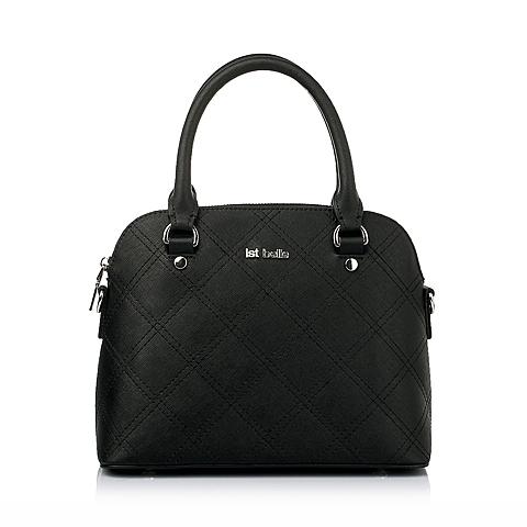 Ist belle/百丽箱包春季黑色菱格车缝线牛剖层皮革女手袋209DDAX6