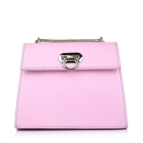 Ist belle/百丽箱包春季粉色细纹人造革女手袋11417AX6