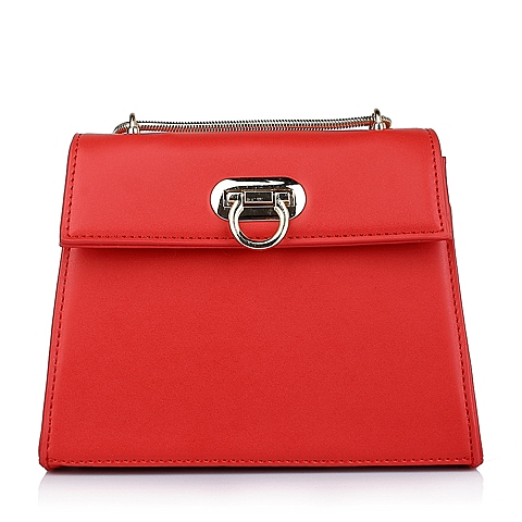 Ist belle/百丽箱包春季红色细纹人造革女手袋11417AX6