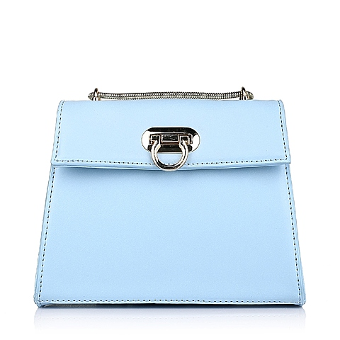 Ist belle/百丽箱包春季蓝色细纹人造革女手袋11417AX6