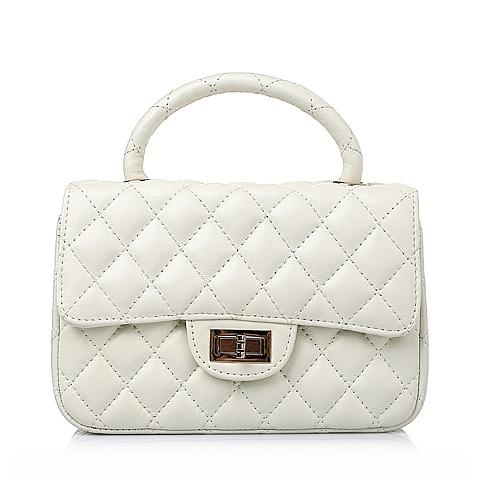 Ist belle/百丽箱包2016春季白色车缝线绵羊皮简约时尚女手袋Y8626AX6