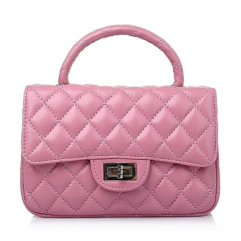 Ist belle/百丽箱包春季粉色车缝线绵羊皮简约时尚女手袋Y8626AX6