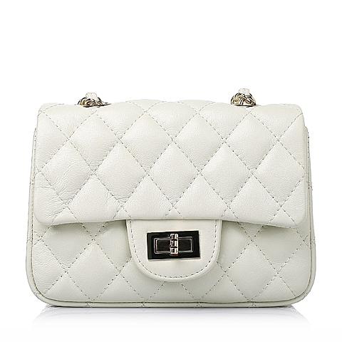 Ist belle/百丽箱包春季白色车缝线绵羊皮简约时尚女手袋Y8629AX6