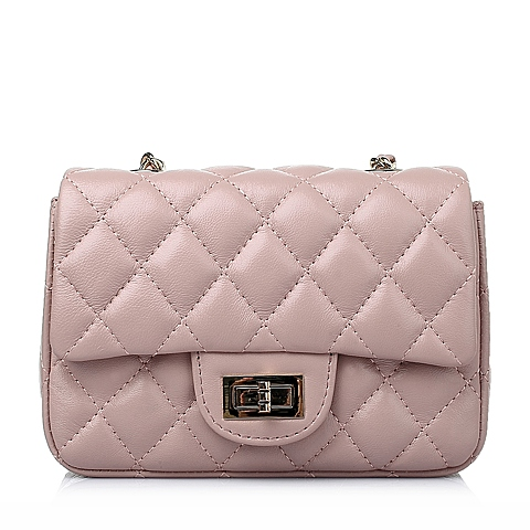 Ist belle/百丽箱包2016春季粉色车缝线绵羊皮简约时尚女手袋Y8629AX6