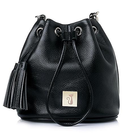 Ist belle/百丽箱包黑色牛皮时尚抽绳女包水桶包Y8606AX6