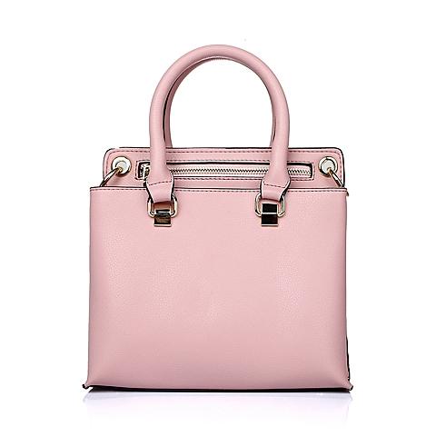 Ist belle/百丽箱包2016年夏季粉色细纹牛剖层皮革女包11585BX6